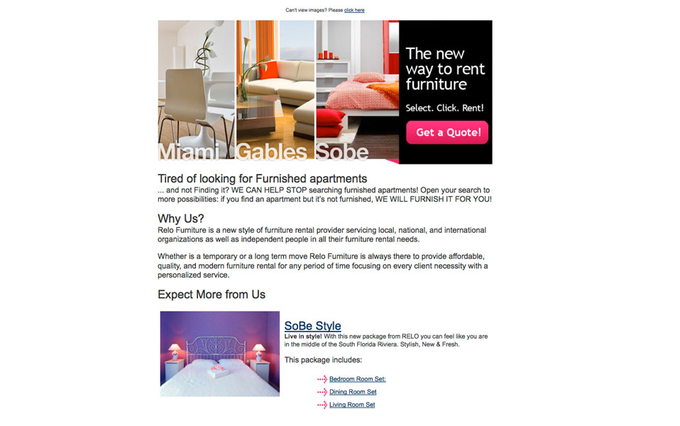 Relo Furniture Email Design