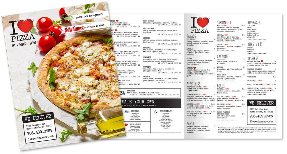I Love Pizza - Menu Design by M&O
