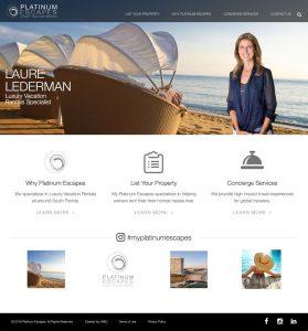 Platinum Escapes web design by M&O