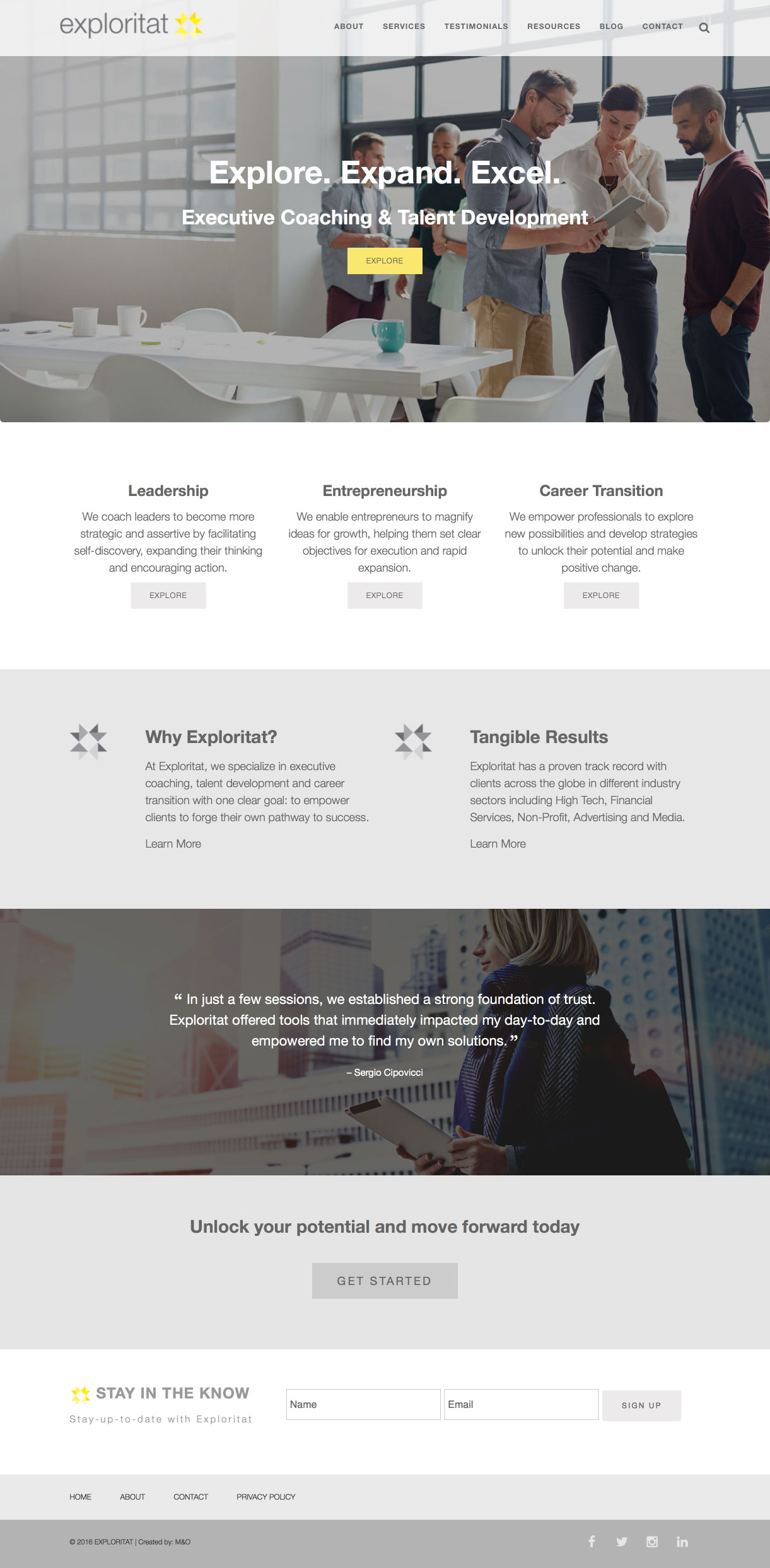 Exploritat web design by M&O